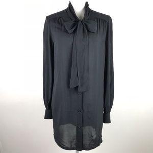 Novella Royale Top Black Tunic Button Down Bow